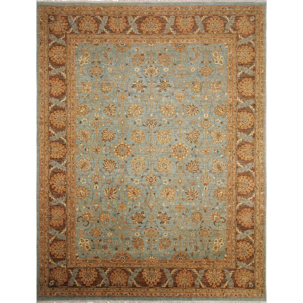 One-of-a-Kind Romona Hand-Knotted Rectangle Light Blue Area Rug by Isabelline