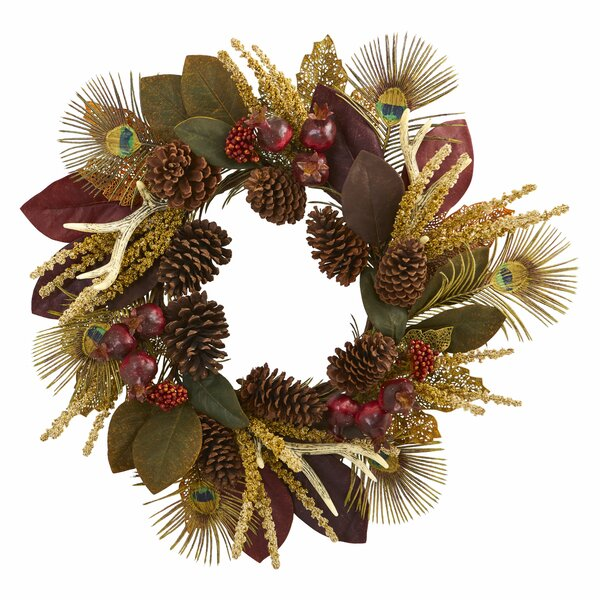 Magnolia, Berry, Antler and Peacock Feather Artificial 27 Polyester Wreath by World Menagerie