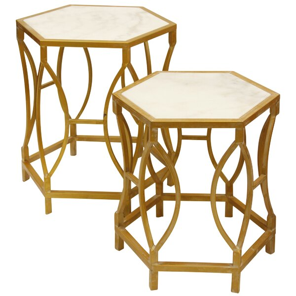 Maynard Shaped 2 Piece Nesting Tables by Everly Quinn