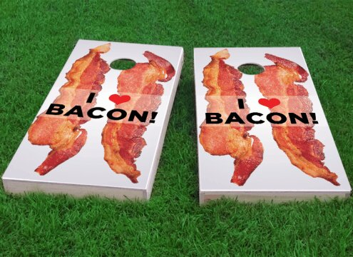 I Love Bacon Cornhole Game (Set of 2) by Custom Cornhole Boards