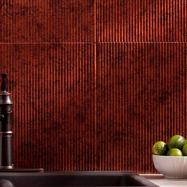 Rib 18.25'' x 24.25'' PVC Backsplash Panel Kit in Moonstone Copper by Fasade