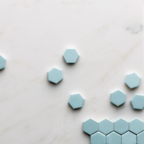 Retro 0.875 x 0.875 Porcelain Mosaic Tile in Matte Light Blue by EliteTile