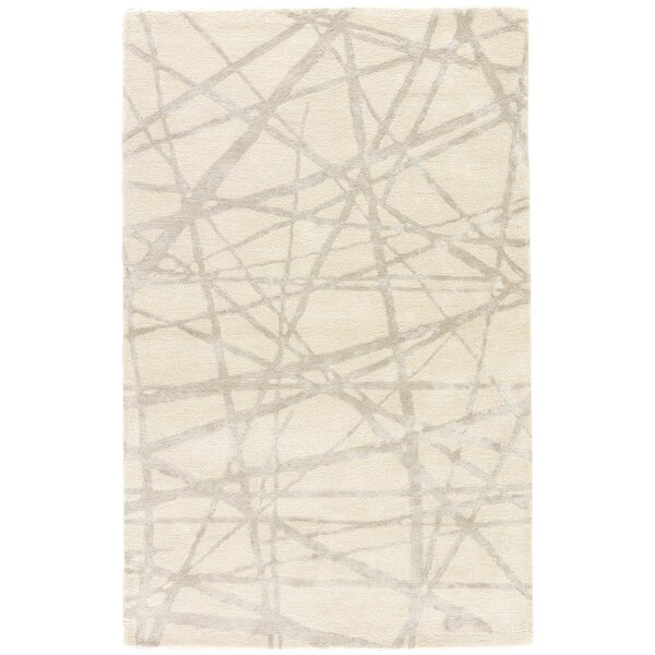 Keswick Geometric Handmade White Area Rug by Williston Forge