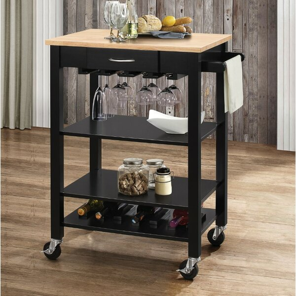 Rodriguez Kitchen Cart with Solid Wood Top by Charlton Home