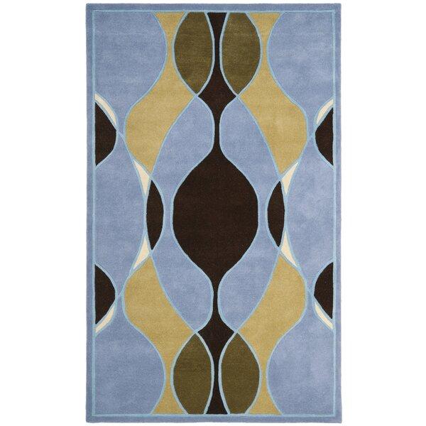 Lockwood Blue Swirl Area Rug by Ebern Designs