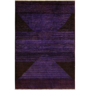 Find for One-of-a-Kind Aberdeen Hand-Knotted Wool Purple/Black Area Rug By Isabelline