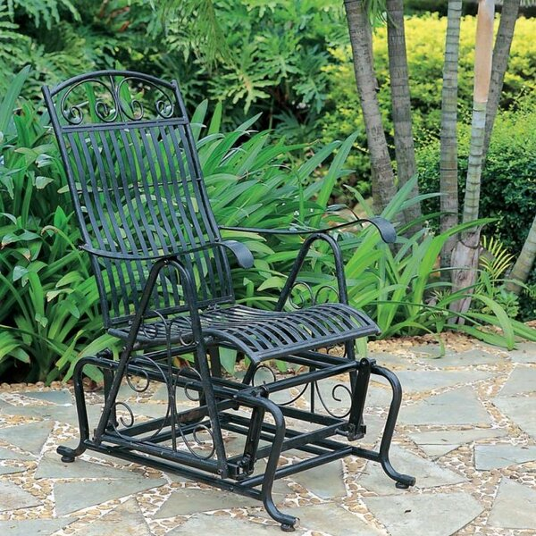 Hunziker Iron Single Patio Glider Chair by Three Posts