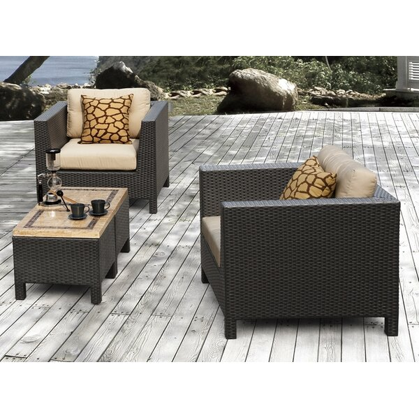 Byram 4 Piece Rattan Seating Group with Sunbrella Cushions by Andover Mills