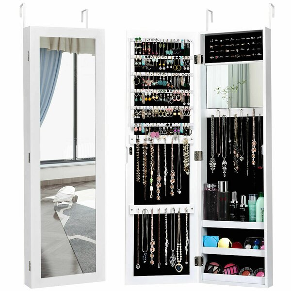 Maura Storage Organizer Over The Door/Wall Mounted Jewelry Armoire With Mirror By Ebern Designs