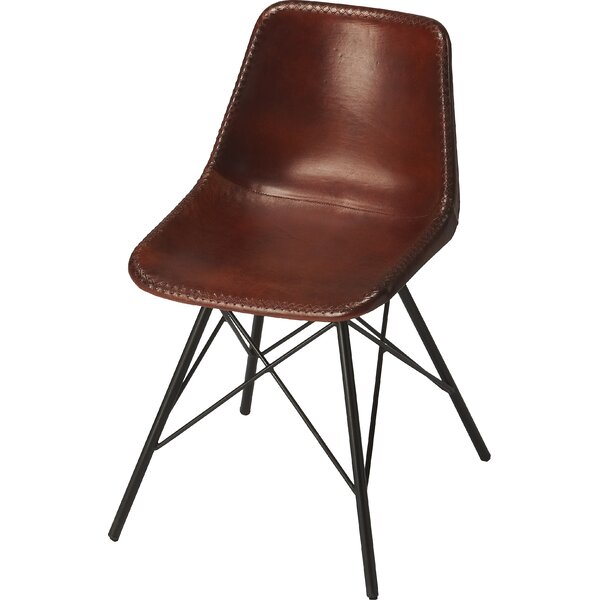 Hennessy Genuine Leather Upholstered Dining Chair by Williston Forge