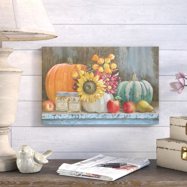Harvest Bench Painting Print on Wrapped Canvas by August Grove