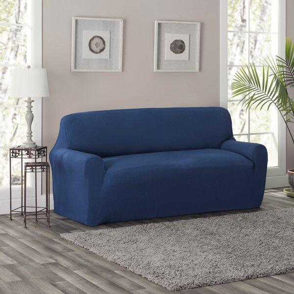 Full/Queen Box Cushion Loveseat Slipcover by Charlton Home