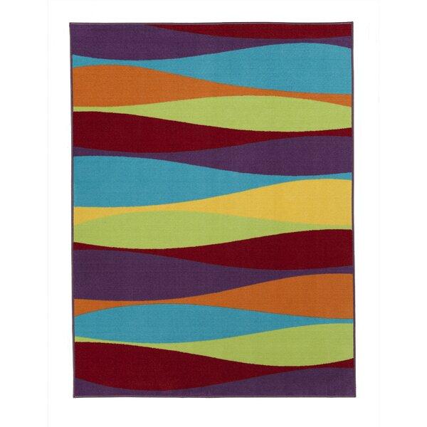 Regan Non-Slip Modern Purple/yellow/red Area Rug By Ebern Designs.