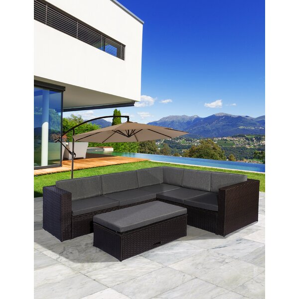 Sunnydale 6 Piece Rattan Sectional Seating Group with Cushions by Ebern Designs