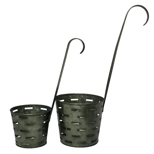 Conleth Olive Bucket Dipper 2-Piece Metal Pot Planter Set by Gracie Oaks
