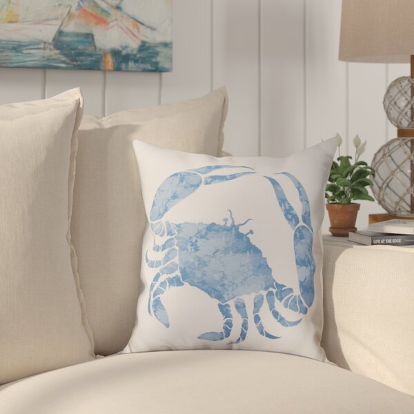 Jacque Crab Throw Pillow by Beachcrest Home