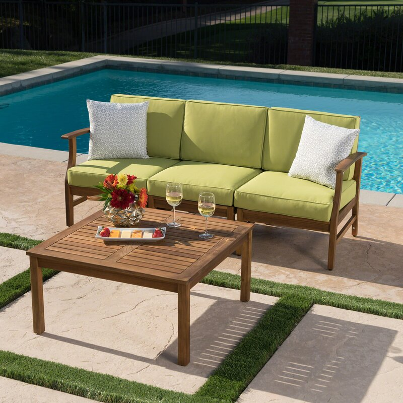 Fassett Outdoor 2 Piece Sofa Set With Cushions By Wrought