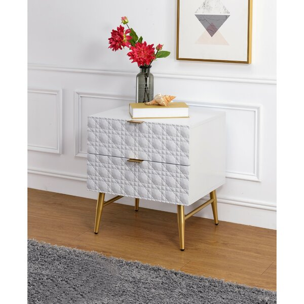 Brayson Wooden 2 Drawer Nightstand by Everly Quinn Everly Quinn