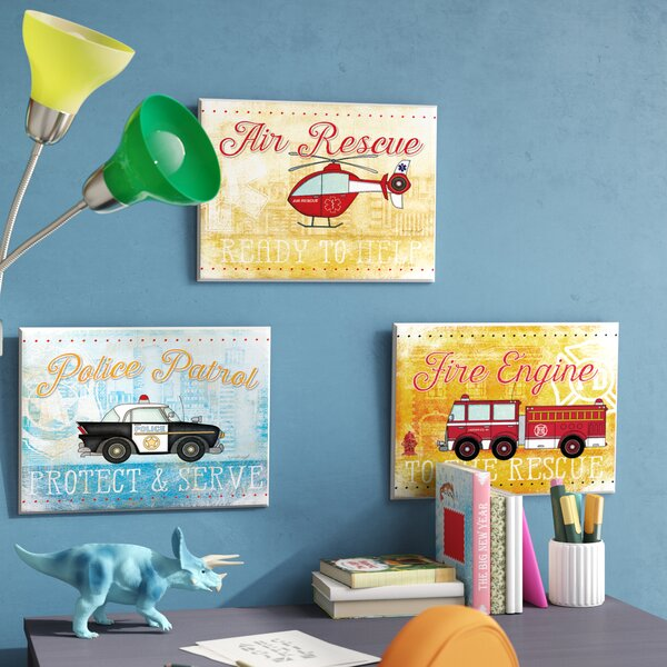Kleckner Rescue Vehicles and Mottos 3 Piece Wall Plaque Set by Zoomie Kids