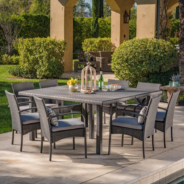 Kondo 9 Piece Dining Set with Cushions by Bayou Breeze