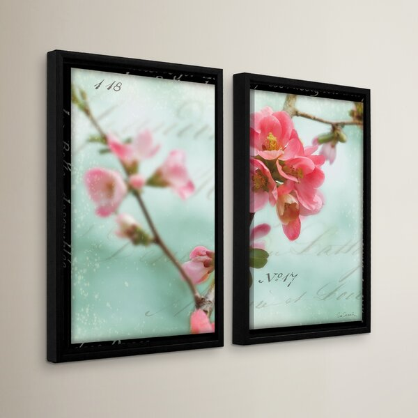 Quince Blossom 2 Piece Framed Photographic Print Set by Red Barrel Studio