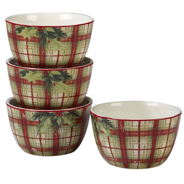 Gianna 24 oz. Plaid Dessert Bowl (Set of 4) by The Holiday Aisle