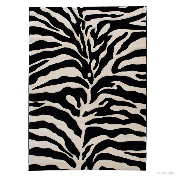 Zebra Black/Beige Area Rug by AllStar Rugs