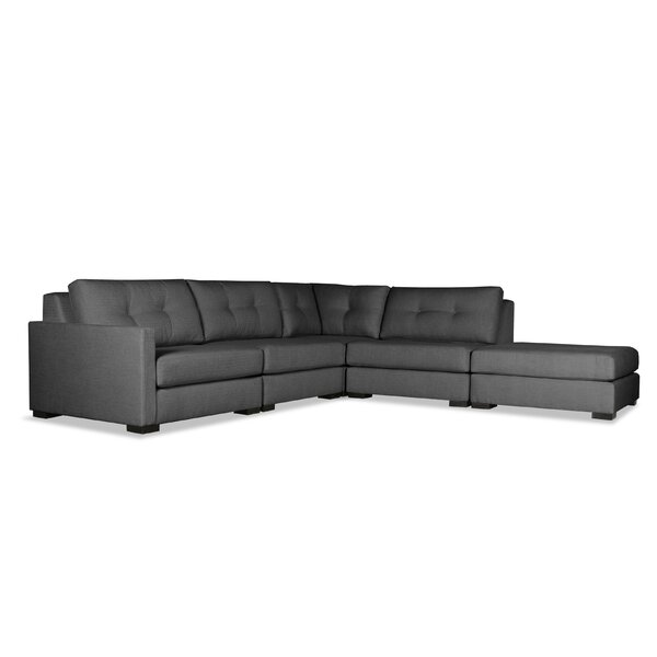 Cheap Price Secrest Buttoned L-Shape Modular Sectional With Ottoman