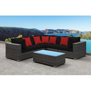 Yeager 5 Piece Rattan Sectional Set with Cushion By Orren Ellis