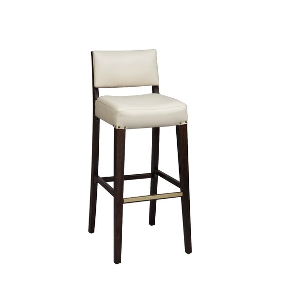 Amoroso Beechwood Solid Back Fully Upholstered Seat Bar Stool by Red Barrel Studio