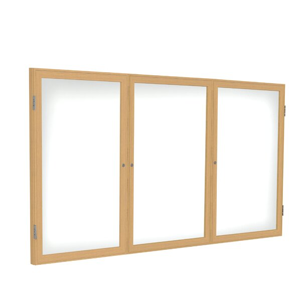 Ghent 3 Door Enclosed Porcelain Magnetic Whiteboard with Wood Frame by Ghent