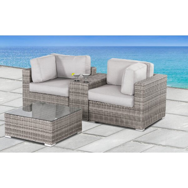 Yeomans 4 Piece Rattan Seating Group with Cushions by Rosecliff Heights