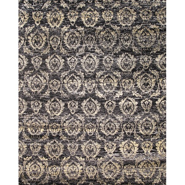 Sari Silk Hand-Knotted Black Area Rug by Pasargad