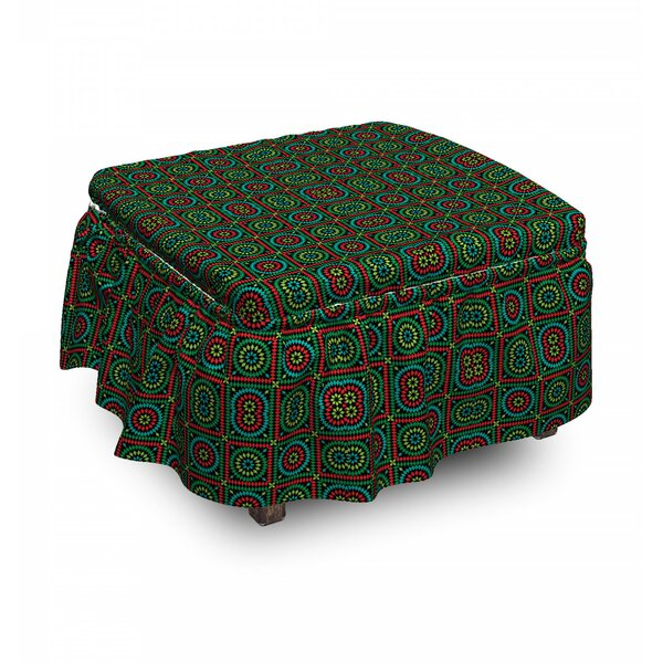 Circles And Squares Ottoman Slipcover (Set Of 2) By East Urban Home