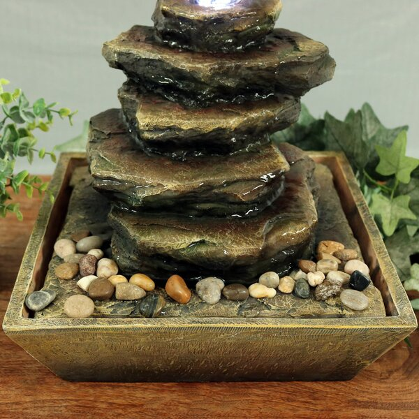 Resin Cascading Rocks Tabletop Fountain with Light by Wildon Home ®