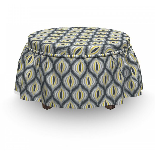 Ikat Ogee Shapes Vintage Pale 2 Piece Box Cushion Ottoman Slipcover Set By East Urban Home