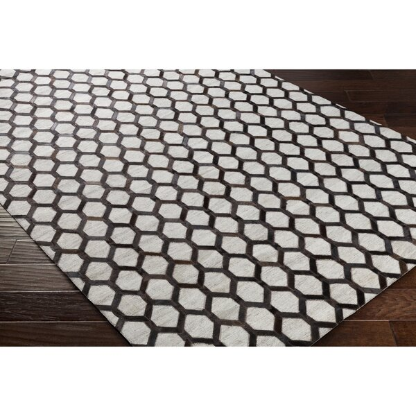 Rexburg Hand-Crafted Black/Brown Indoor Area Rug by Trent Austin Design