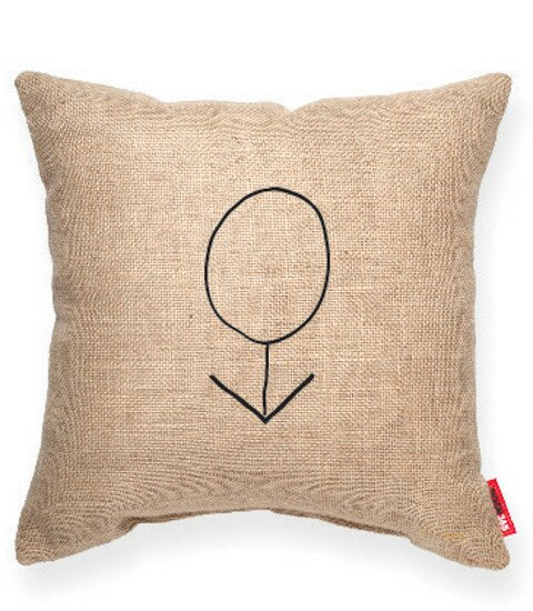 Expressive Male Decorative Burlap Throw Pillow by Posh365