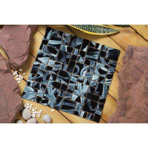 Stella 12 x 12 Glass Mosaic Tile in Black/Beige by Mirrella