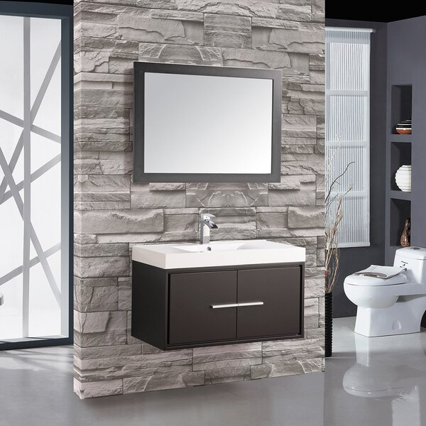 Peirce 36 Single Floating Bathroom Vanity Set with Mirror by Orren Ellis