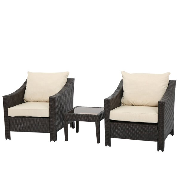 Portola 3 Piece Rattan Conversation Set with Cushions by Sol 72 Outdoor