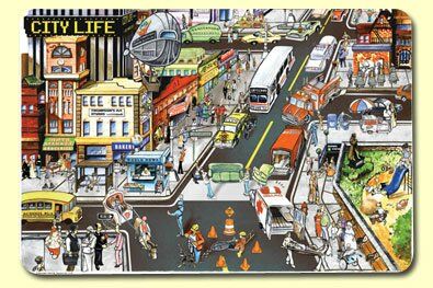 City Life Placemat (Set of 4) by Painless Learning Placemats