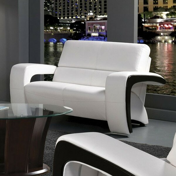 Thierry Leather Loveseat by Orren Ellis