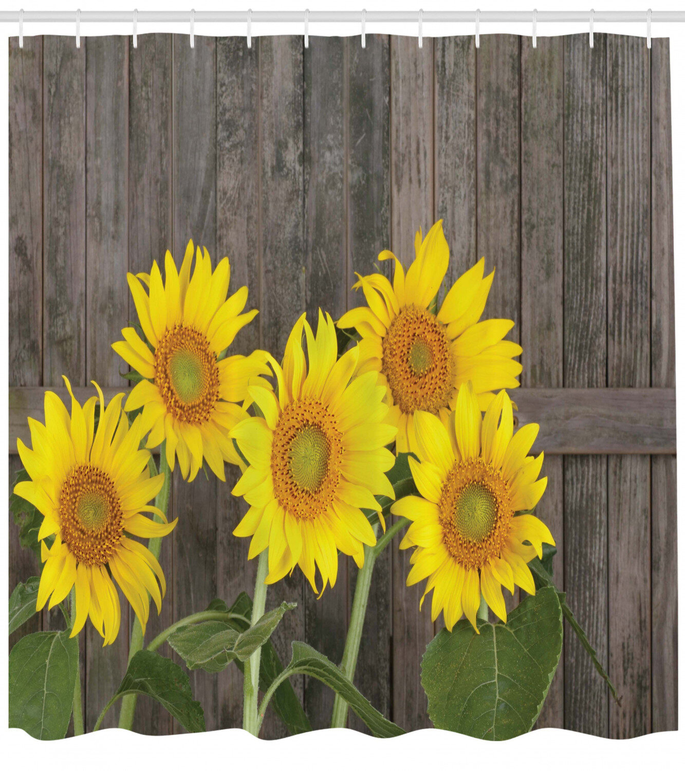 Sunflower Shower Curtain Set Hooks