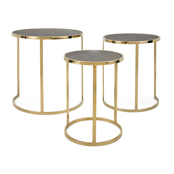 Gracelynn Stainless Steel 3 Piece Nesting Tables by Everly Quinn