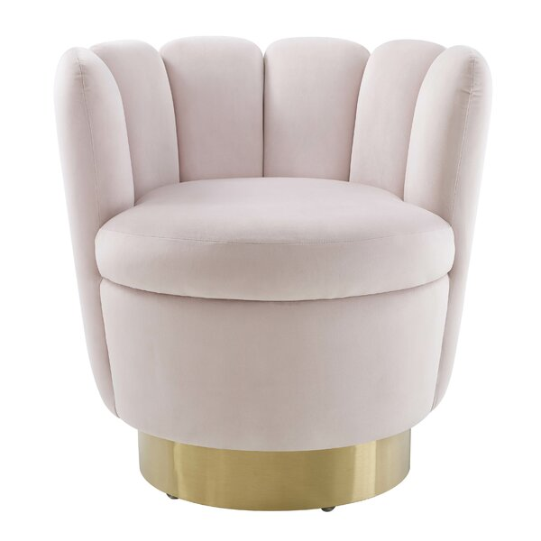 Gartner Velvet Swivel Barrel Chair by Everly Quinn Everly Quinn
