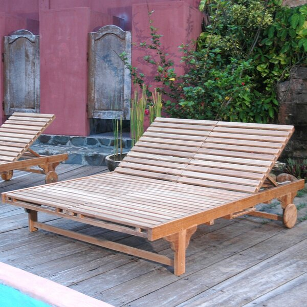 Bel-Air Double Reclining Teak Chaise Lounge by Anderson Teak