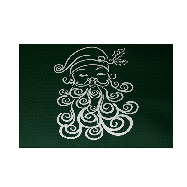Santa Baby Decorative Holiday Print Dark Green Indoor/Outdoor Area Rug by The Holiday Aisle