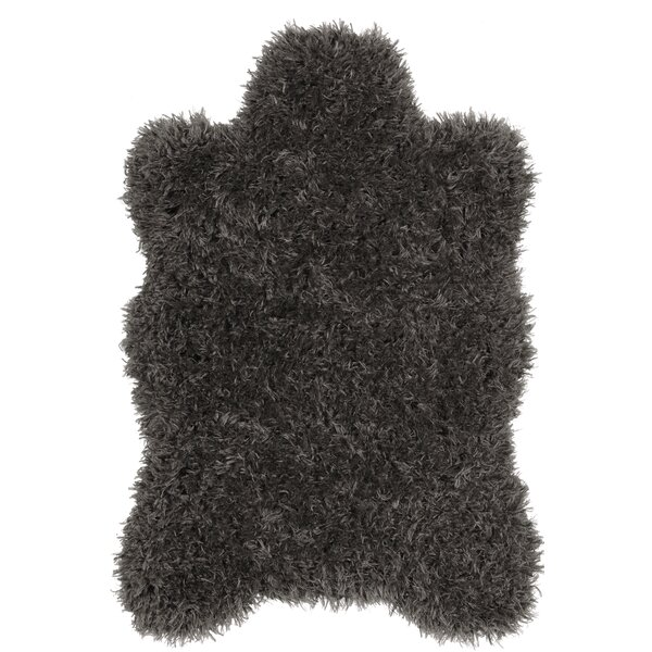 Costantino Fuzzy High Pile Dark Gray Area Rug by Wrought Studio
