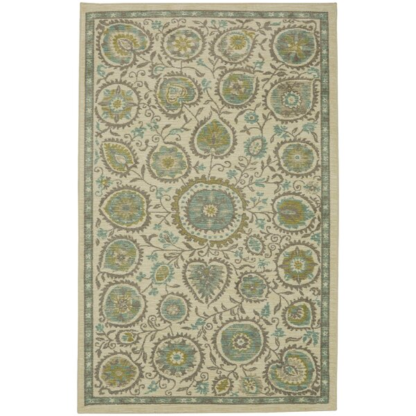 Asherman Beige/Green Area Rug by Bungalow Rose